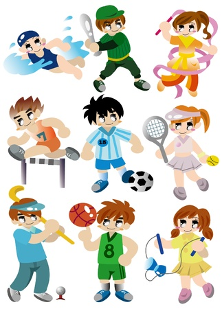 cartoon sport player icon set Vector