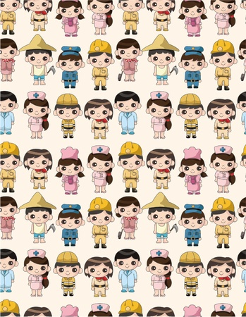 cartoon people work seamless pattern Vector