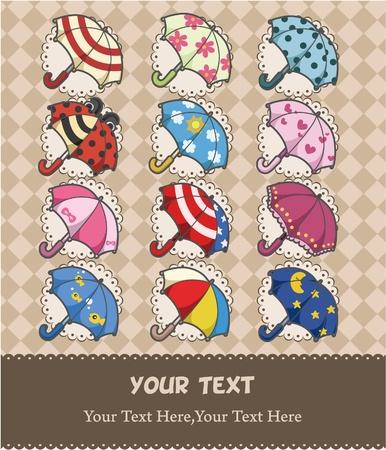 cartoon umbrella: cartoon umbrella card