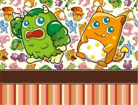 cartoon Monster card Stock Vector - 9525805