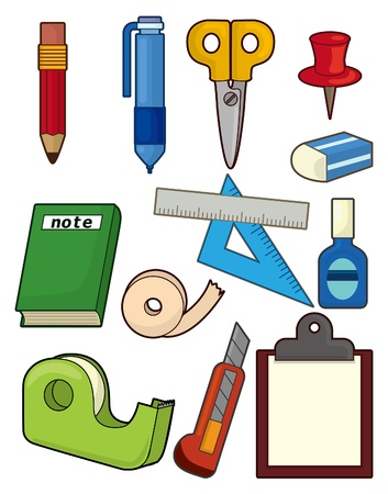 cartoon stationery icon set Vector