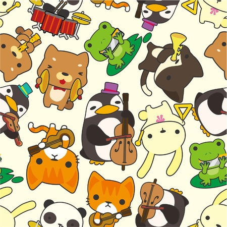 cartoon animal play music seamless pattern Vector