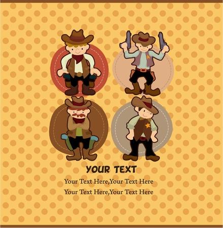 western background: tarjeta de vaquero de dibujos animados