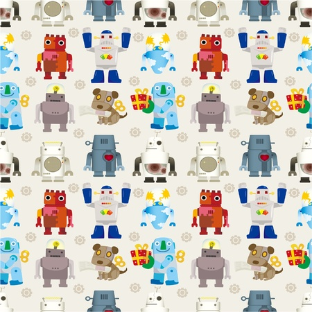 alien cool: seamless Robot pattern Illustration