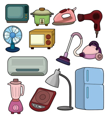 fridge lamp: cartoon home appliance icon Illustration