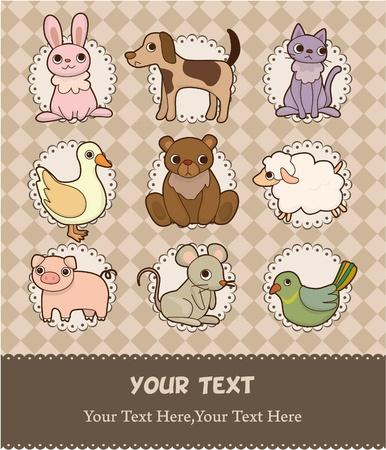 cartoon animal card Stock Vector - 9598550
