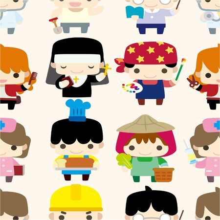 cartoon people seamless pattern Stock Vector - 9598552