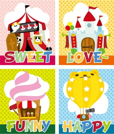 vendors: cartoon playground card Illustration