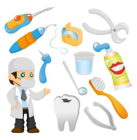 dientes caricatura: conjunto de iconos de herramienta de dentista de dibujos animados