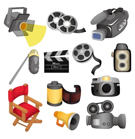 movie set: cartoon movie equipment icon set Illustration