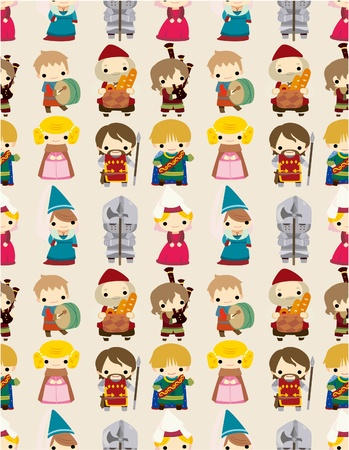 renaissance woman: cartoon Medieval people seamless pattern