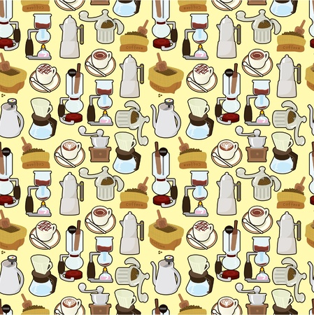 espreso: cartoon coffee seamless pattern