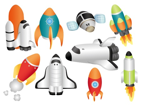 spaceships: cartoon spaceship icon
