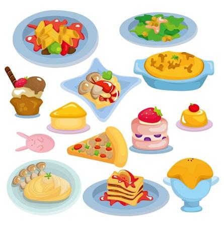 cartoon Italian food set