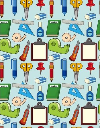 cartoon stationery seamless pattern Vector