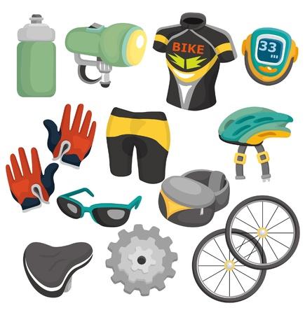 cartoon bicycle equipment icon set Stock Vector - 9598595