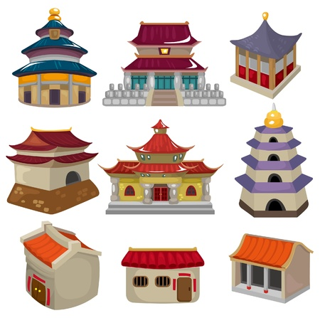 cartoon Chinese house icon set Stock Vector - 9598598