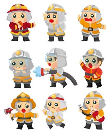 fire engine: Cartoon set di icone di vigile del fuoco Vettoriali