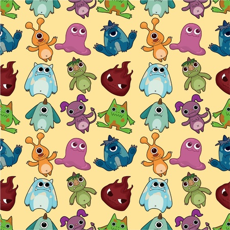 seamless monster pattern Stock Vector - 9598609