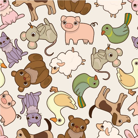 seamless cartoon animal pattern Vector