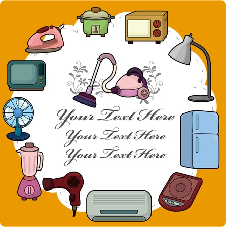 cartoon home appliance card Vector