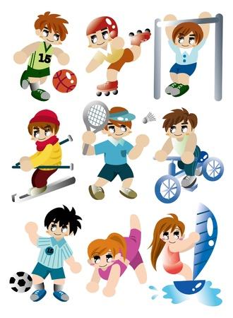 cartoon sport player icon set Vector