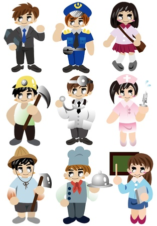 cartoon people work icon set  Vector
