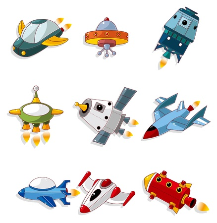 spaceships: cartoon spaceship icon set