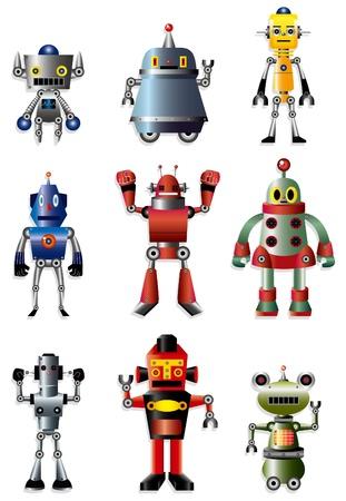 cartoon robot icon set Vector
