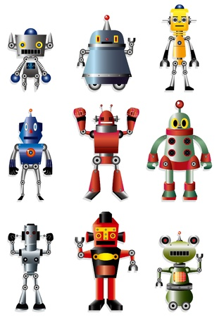 machinery space: cartoon robot icon set