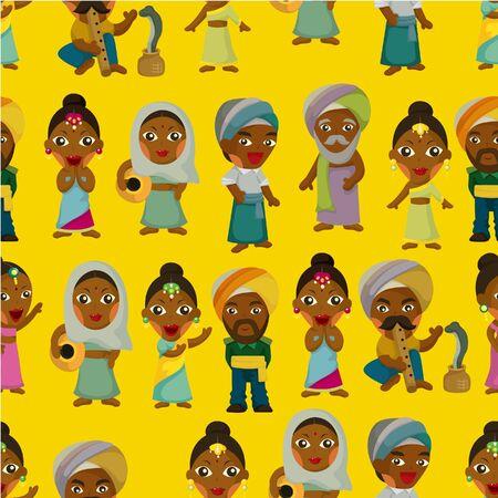 bollywood: Vector van cartoon Indiase naadloze patroon
