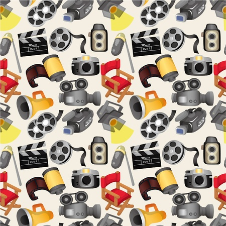 cartoon movie equipment seamless pattern Stock Vector - 9598642