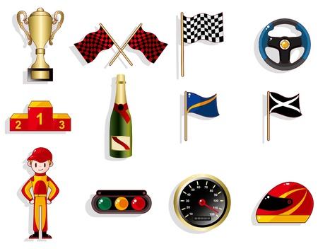 cartoon f1 car racing icon set Stock Vector - 9598648