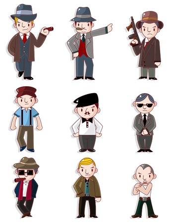 cartoon mafia icon set Stock Vector - 9598650