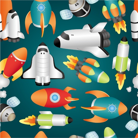 space shuttle: seamless spaceship pattern