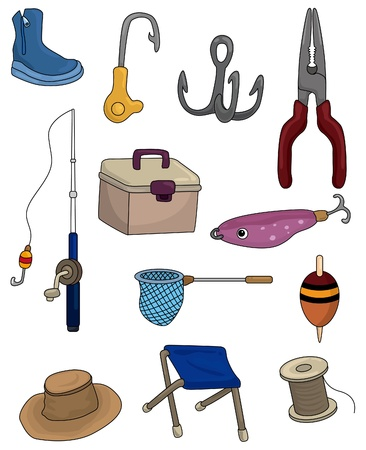 bait box: cartoon Fishing icons set