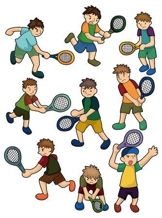 cartoon Tennis Players icon  Vector