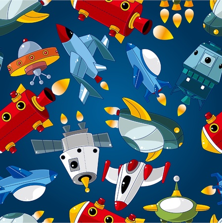 astronauts: seamless spaceship pattern