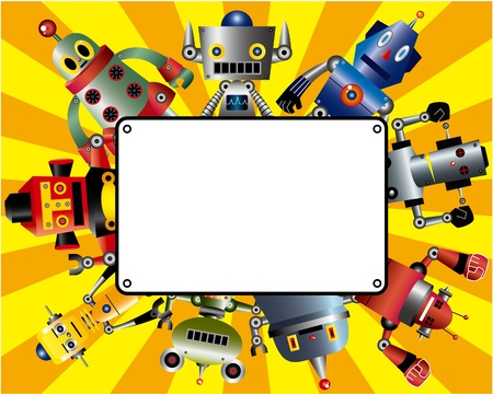 alien cool: cartoon robot card