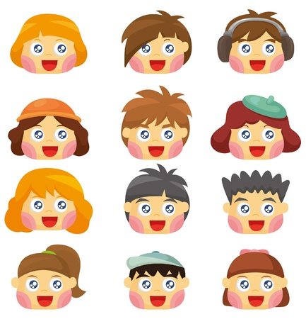 cartoon kid face icon  Vector