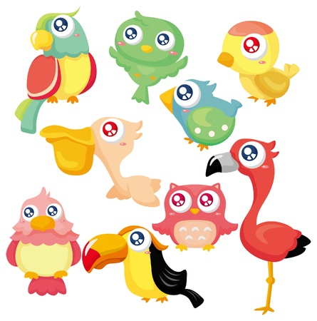 cartoon bird icon set Stock Vector - 9635537