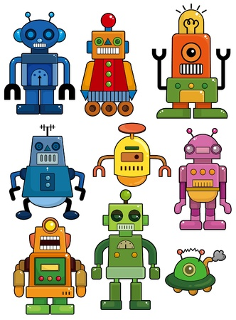 machinery space: cartoon robot icon set  Illustration