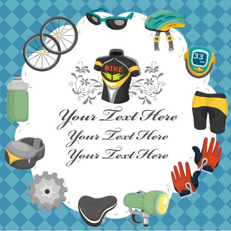 tool bag: cartoon bicycle equipment seamless pattern