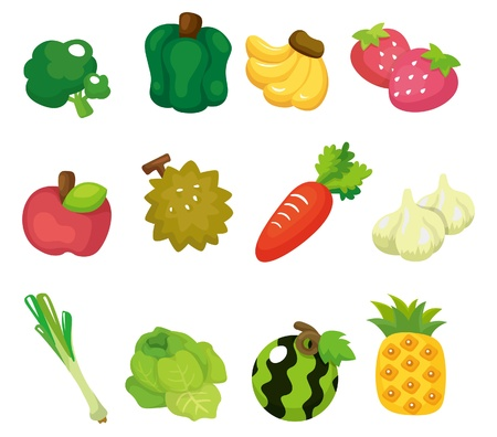 pineapples: dibujo animado de conjunto de iconos de frutas y hortalizas Vectores