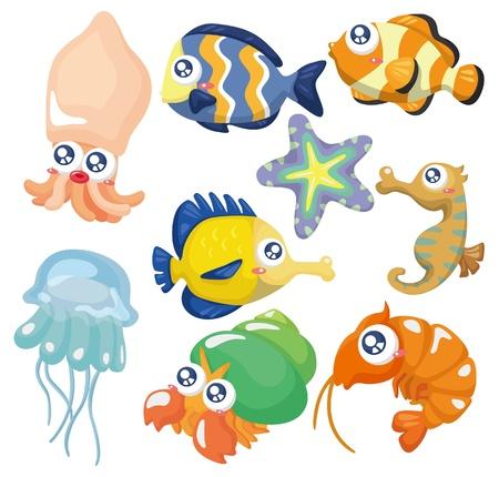 Colección de peces de dibujos animados, conjunto de iconos Foto de archivo - 9635547