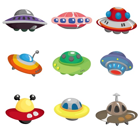 우주선: cartoon ufo spaceship icon set 일러스트