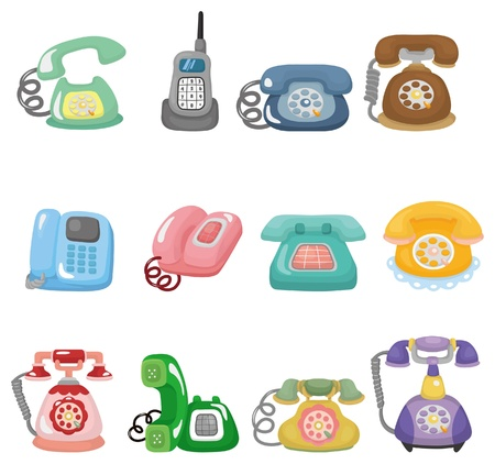 retro phone: funny retro cartoon phone icon set