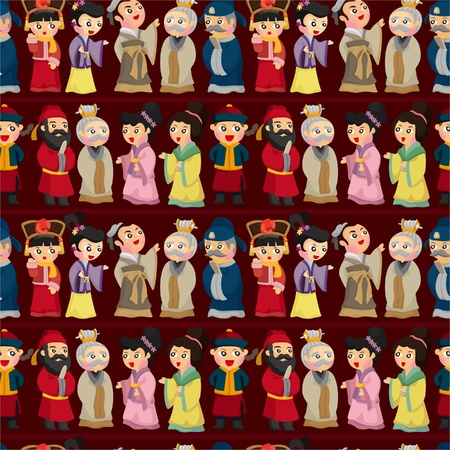 national colors: cartoon Chinese people seamless pattern Illustration