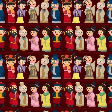 cheongsam: cartoon Chinese people seamless pattern Illustration