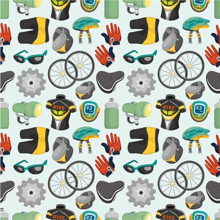 cartoon bicycle equipment seamless pattern Stock Vector - 9635565